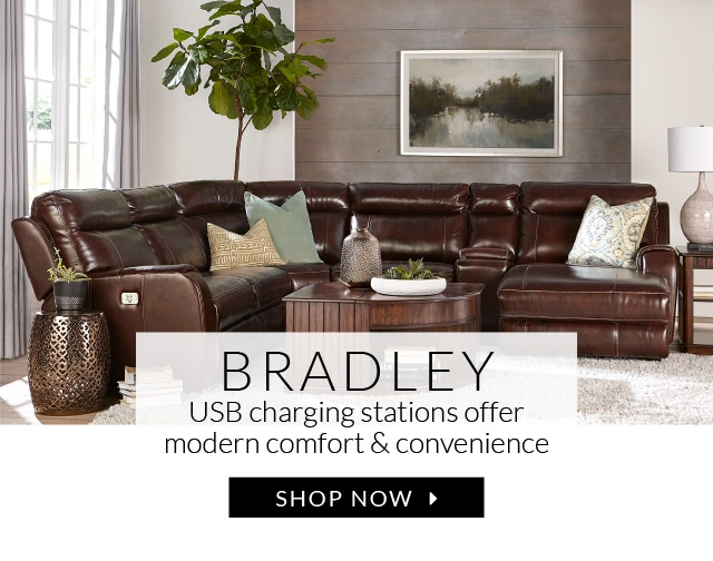 ... Bradley: all-in-one comfort and convenience with supple leather and USB  charging - Havertys Furniture, Custom Décor, Free Design Services