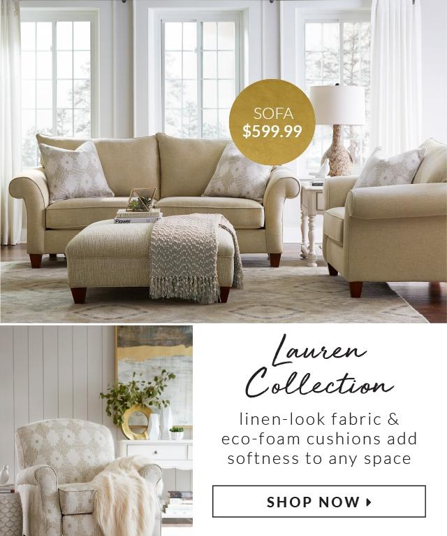 Living Rooms Lauren Sofa 599 99 Linen Look Fabric And Eco Foam Cushions Add Softness