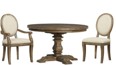 Round Dining Table With 4 Oval Dining Chairs And 2 Oval Armchairs