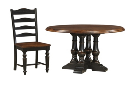 54 Inch Round Dining Table With 4 Dining Chairs