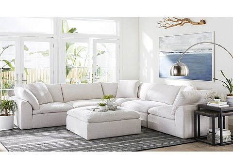 Living Room Ottomans In Leather And Fabric Havertys