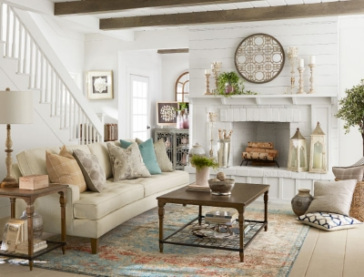 ... An Image Of A Living Room With White Brick Walls, Wooden Beams, And  Cream. French Farmhouse